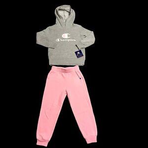 Champion Little Girls Comfy & Cozy Fleece Hoodie & Jogger Outfit Set sz 4, 5, 6