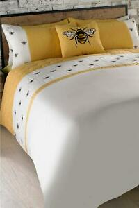 WONDERFUL EMBROIDERED BEES KING SIZE MODERN DUVET COVER BED SET HONEYCOMB