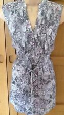 NEW EAST 12 ladies grey pink floral longline sleeveless tunic shirt blouse top