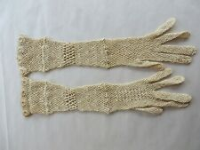 """Antique Small Hand Crocheted Gloves Cream Color Mid Forearm Length 13.5"""""""