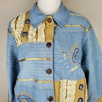 INDIGO MOON Jacket Size Medium Blue Chambray Embroidered Floral Buttons Boho