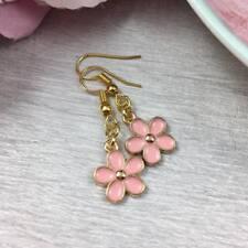 GOLD Pink Flower EARRINGS Dangle Drop HOOK Dainty Daisy FLORAL Simple Pretty