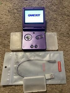 Nintendo Game Boy Advance SP Purple Handheld AGS-101 IPS V2 Extended Battery USB