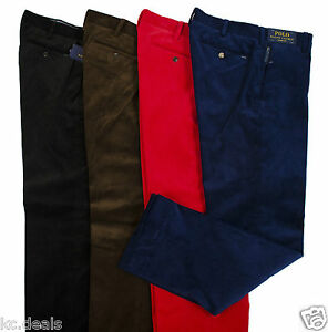 POLO RALPH LAUREN MENS COTTON CORDUROY PANTS BLACK BROWN RED BLUE MULTISIZES