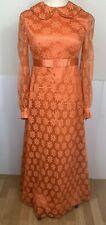New listing Women's Maxi Dress Sz S Orange Daisy Lace Boho Festival Hippie Prairie Vintage