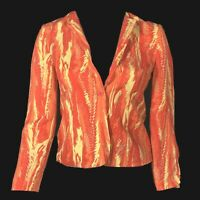 NEW Sandra 12 100% Silk Blazer Jacket Coral Watercolor Combo Long Sl Lined Work