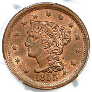 1855 N-12 PCGS MS 64 RB CAC Upright 5 Braided Hair Large Cent Coin 1c