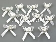 100pcs White Satin Ribbon Bow/Rose Flower Appliques