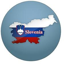 SLOVENIA MAP / FLAG - ROUND SOUVENIR FRIDGE MAGNET - NEW - GIFT