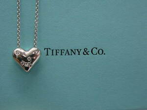 Tiffany & Co Platinum 5-Diamond Heart Pendant Necklace