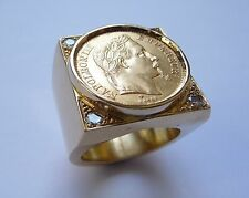 Seal ring gold square with piece 20 Francs Napoleon socket interior and Oxides