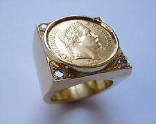 Chevalière or carré avec pièce or 20 Francs Napoléon et Oxydes blancs