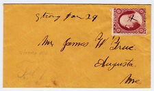 """#26A-3 Cents 1857, 1R10e, ms. """"Strong Jan 29 (ME)"""" Ladies cover, embossed birds"""
