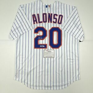 Autographed/Signed PETE ALONSO New York Mets Nike Pinstripe Jersey Fanatics COA