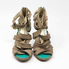Just Cavalli Women's Size 39/ US 8.5-9 Tan Leather High Heel Sandals