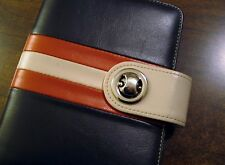 Franklin Covey Organizer Planner 6 Ring Brown  Orange Cream Snap Closure