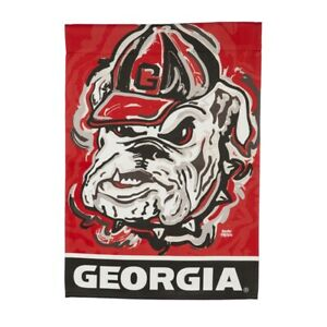 Georgia Bulldogs  2-Sided Garden Flag Justin Patten Mascot Whimsical Painting