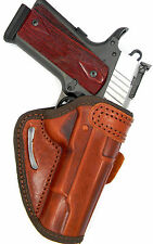 """OWB BELT SLIDE OPEN TOP QUICK DRAW BROWN LEATHER HOLSTER - AUTO ORDNANCE 1911 5"""""""