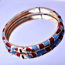 58mm Womens Wedding cuff bracelet Gold Filled Multi-Color enamel bangle
