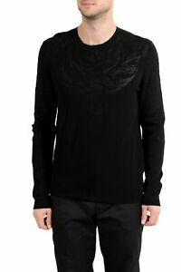 Versace Collection Men's Designed Black Crewneck Sweater