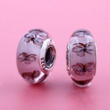 UK FREE SHIPPING New Pandora Murano Glass Butterfly Charm Bead  S925 ALE