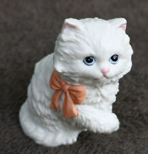 Vintage White Ceramic Kitten Cat Cute Art Painted Pink bow Adorable 1428