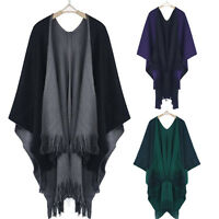 USA Women Winter Knitted Cashmere Poncho Capes Shawl Cardigans Sweater Coats