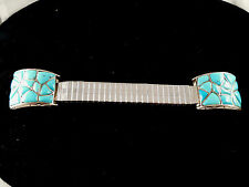 Tips Set In Sterling Silver Beautiful Zuni Handmade Turquoise Watch
