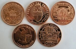 "5 Copper Rounds 1 Ounce Bullion Assorted Designs 1 1/2"" Indian Chief Liberty"