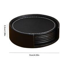 6PCS/Set PU Leather Round Drink Coasters With Coaster Holder Pad Tableware