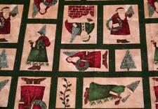 FAT QUARTER - CHRISTMAS TREES AND SANTA - FOLK INSPIRED