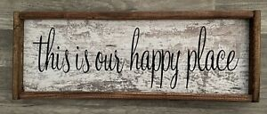 NEW This Is Our Happy Place Rustic Wall Sign Present Barnboard 9x25inches Brown