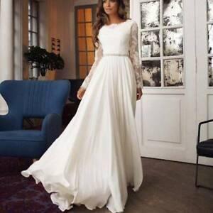 Dame Elegant Spitze Hochzeitskleid Brautjungfer Partykleid Langarm Maxikleider