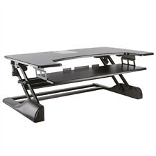 Höhenverstellbarer Schreibtischaufsatz, schwarz, mit Monitorhalterung VESA75/100
