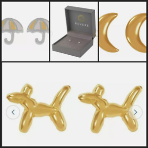 BRAND NEW BOXED REVERE 9CT GOLD PLATED STIRLING SILVER STUD EARRINGS DOG MOON