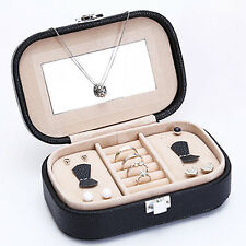 1pc Faux Leather Portable Ring Earing Necklace Display Box Jewelry Storage Case