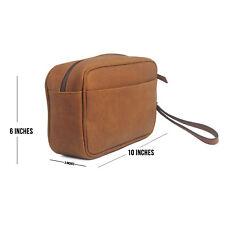 Mens Leather Toiletry Bag Travel Dopp Kit Shaving and Grooming Kit For Travel