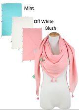 New Women Solid light Square scarf with tassels Soft Shawl Wrap Cozy Blush #N01