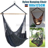 Hammock Nylon Swing Camping Hanging Rope Chair Wooden Outdoor Patio 130kg
