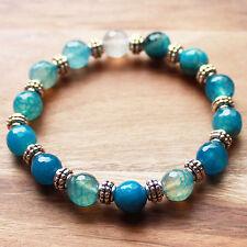 Semi-Precious Blue Agate Natural Stone and Silver Bracelet