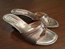 MANOLO BLAHNIK Silver Gold Champagne Kitten-Heels Slip-On Thong Sandals Size 5.5
