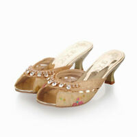 Womens Glitter Rhinestones Floral Hollow Out Peep Toe Kitten Heel Slippers Shoes