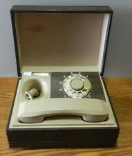 1970's Deco-Tel Rotary Dial Wood Box Executive Desk Telephone Western Electric