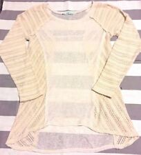 Maurices Cream High Low Large Knit Top Long Sleeve L Ivory