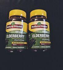 (1) Nature Made Elderberry Gummies Raspberry 100mg Vitamin C & Zinc 60ct Immune