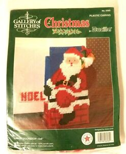 "Vintage Bucilla Gallery of Stitches Santa Doorstop Kit 6x8"" Joyce Levitt Canvas"