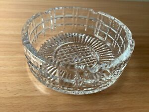 Vintage Crystal Ashtray Glass Cut Intricate Pattern Heavy Deep Sides Large