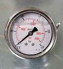 "Manometer NG63 Glyzerin gefüllt, 0-250 bar, G1/4"" hinten, Hydraulik, Pneumatik"