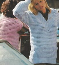 """Ladies Chunky Sweater with pockets Knitting Pattern 32-38"""" 1034"""
