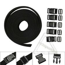 1 Inch Polypropylene Webbing: Black Nylon Strap 4 yards/4m/13ft Buckles Slides